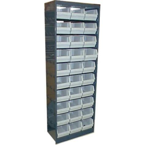 scaffale in plastica scaffale metallo con 30 contenitori plastica n 4 1105