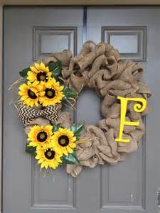 Burlap Sunflower Wreath Sunflower Burlap Wreath Sunflower Wreath By Turquoiseowldesign