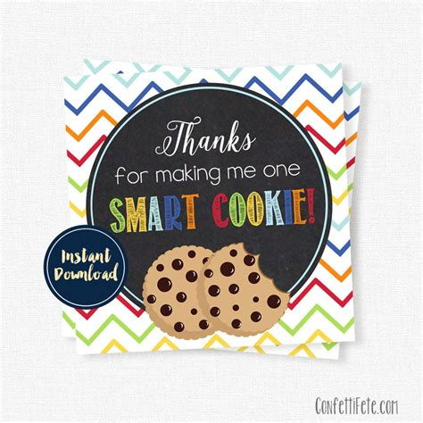 printable gift tags for cookies one smart cookie tag teacher appreciation tags teacher