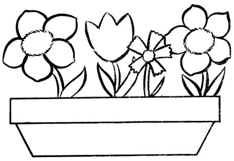 clipart of flowers coloring pages flower pot coloring page clipart best