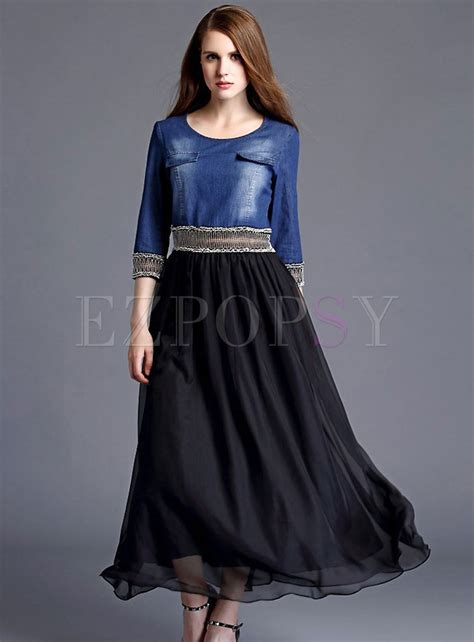 Longdress Slim slim denim matched fashion dress ezpopsy