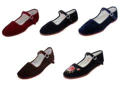 womens velvet mary jane shoes flat slip  ballet