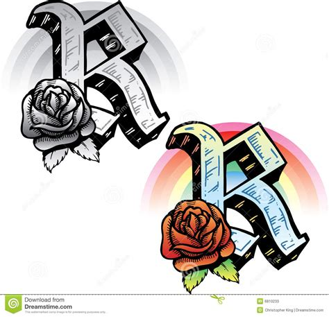 tattoo letter r design style letter r stock vector image of metal