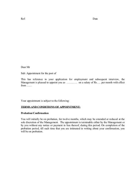appointment letter format terms and conditions letter of employment with terms and conditions images