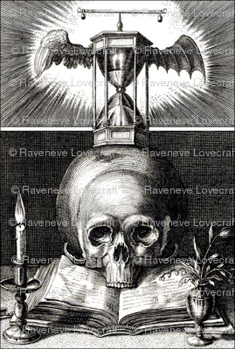 monochrome black white skulls scales hourglasses candles