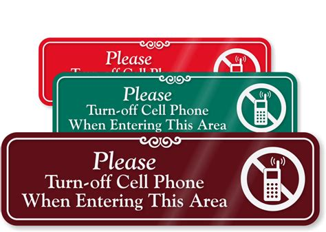 turn this phone turn cell phone in this area sign sku se 5146