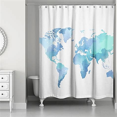 bed bath and beyond blue curtains watercolor world shower curtain in white blue bed bath