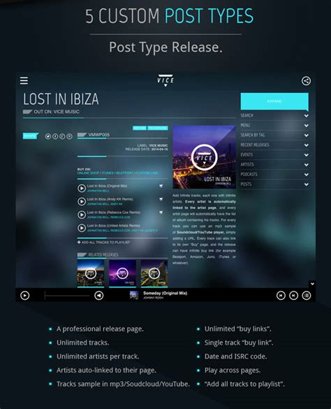 themes wordpress music vice music band dj and radio wordpress theme wordpress
