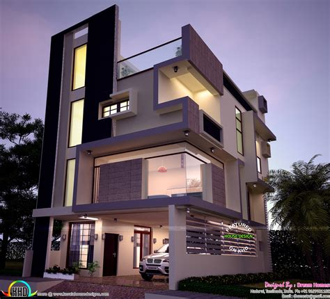 3 floor house design 30x40 contemporary three storied home kerala home design