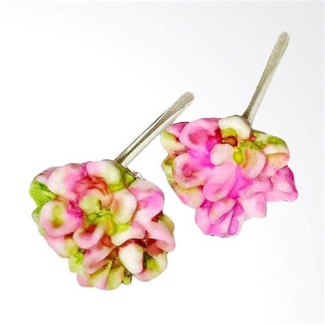 Anting Tusuk Bunga jual anneui ee0334 anting tusuk model bunga cantik dengan warna mix pink green harga