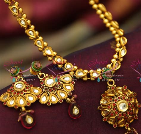 nl4018 antique gold plated handmade multi colour kundan
