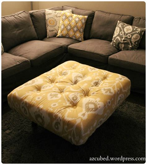 Diy Tufted Ikat Ottoman From Upcycled Pallet With Tutorial How To Make A Tufted Ottoman From A Coffee Table