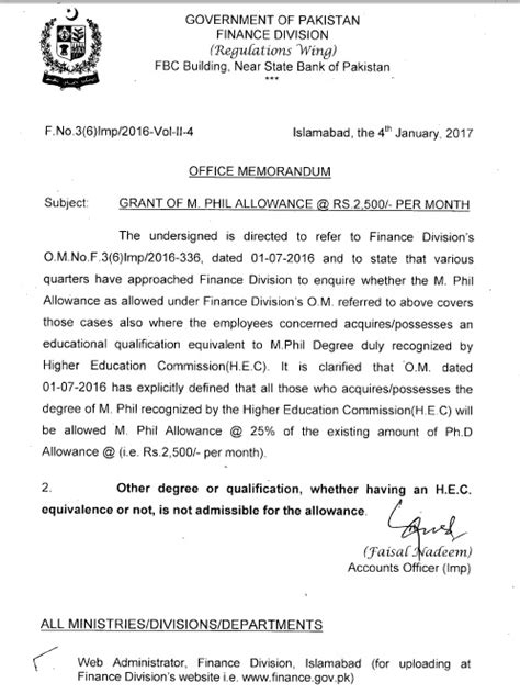 Hec Mba Equivalent To M Phil by Who Is Eligible For M Phil Allowance Clarification For Fg