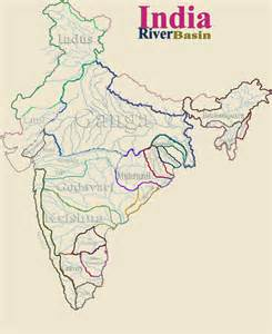 Rivers Of India Map Outline by Indien Fluss Karte
