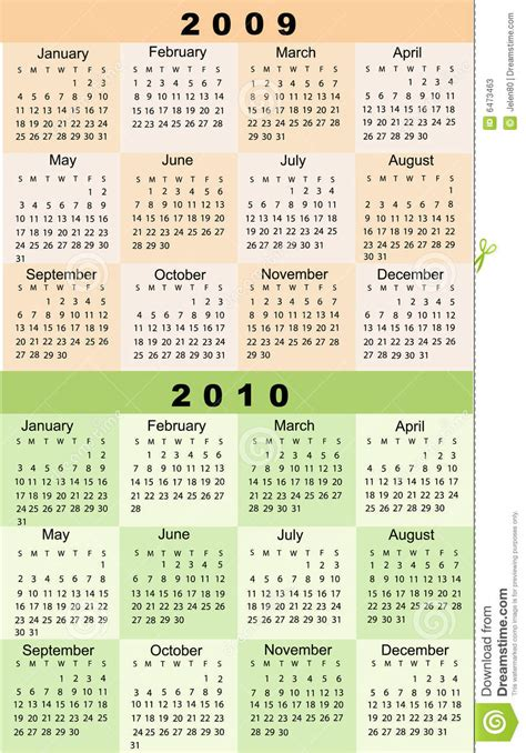 Calendar With Photos Calendar 2009 2010 Stock Photos Image 6473463