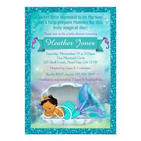 Mermaid Baby Shower Invites by Adorable Mermaid Baby Shower Invitations 136 Med Zazzle