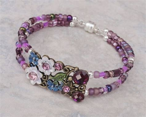 Handmade Bracelet Ideas - bracelet blossom purple and bronze memory
