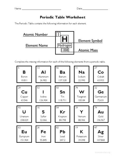 Periodic Table Activity Worksheet Pdf
