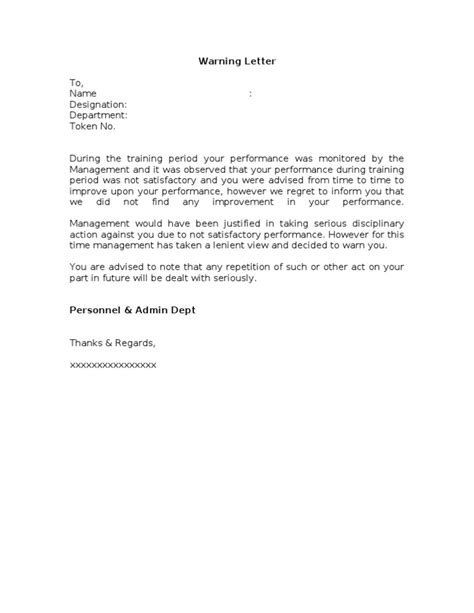 Explanation Letter For Unsatisfactory Performance Poor Performance Warning Letter Format