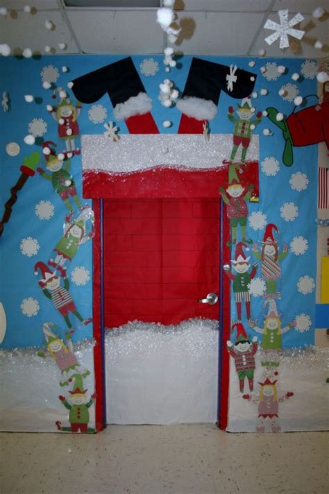 door decorations santa stuck classroom door decoration