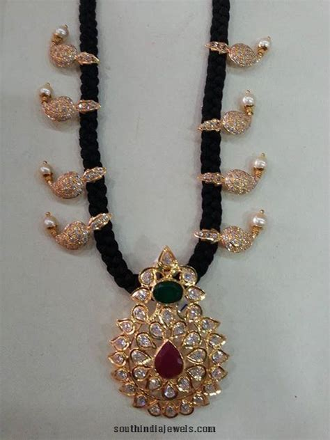 black necklace designs india gold black threaded necklace designs page 2 of 4 south