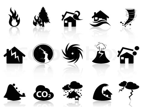 Isolated black Natural disaster icons set from white