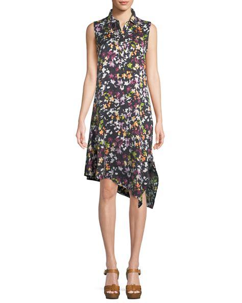 equipment tira sleeveless tiny floral print silk dress w