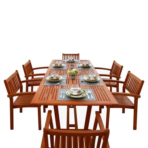 Wooden Patio Dining Sets Shop Vifah Malibu 7 Wood Eucalyptus Dining Patio Dining Set At Lowes