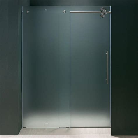 Bypass Shower Doors Frameless Vigo 72 In X 74 In Frameless Bypass Shower Door In Stainless Steel With Frosted Glass With
