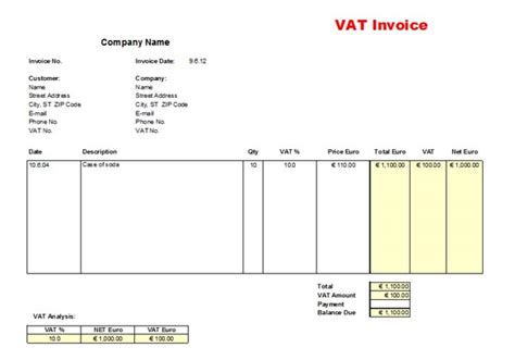 vat invoice template uk vat invoice template images