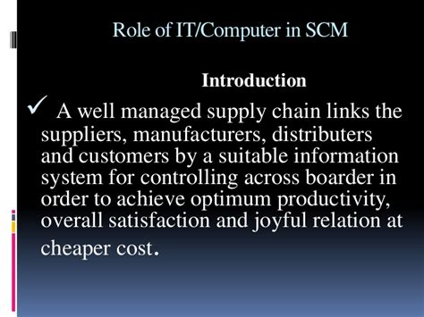 Mba Information Systems Worth It by Of It In Supply Chain Management