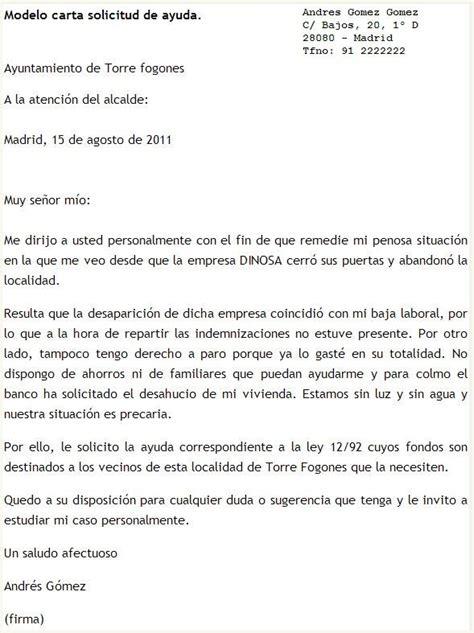 Carta Formal Solicitud De Apoyo modelo de carta de solicitud de ayuda