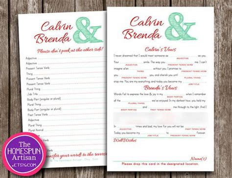wedding vows bridal shower mad lib bachelorette rehearsal wedding vows mad libs printable bridal shower engagement idea rehearsal dinner