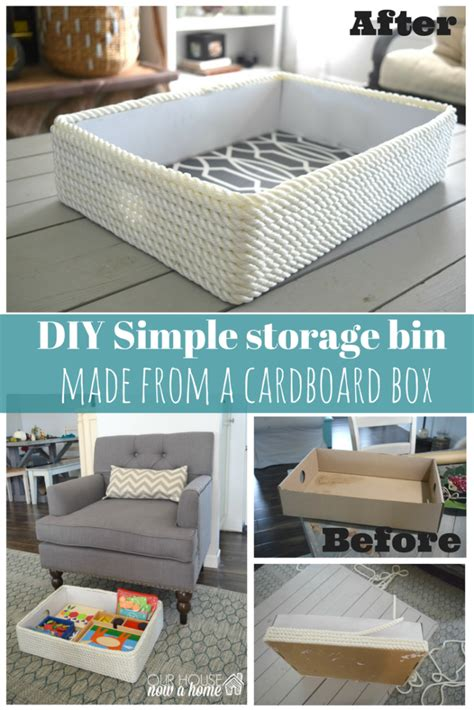 creating a simple storage bin using rope and a cardboard box our house now a home