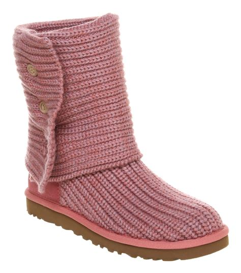 uggs knitted boots uggs cardy pink