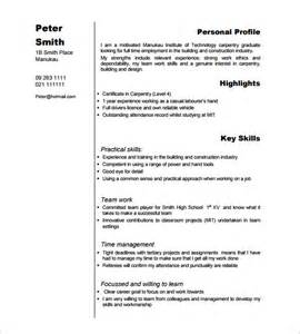 carpenter resume template 9 free sles exles carpenter resume exle friv1k com