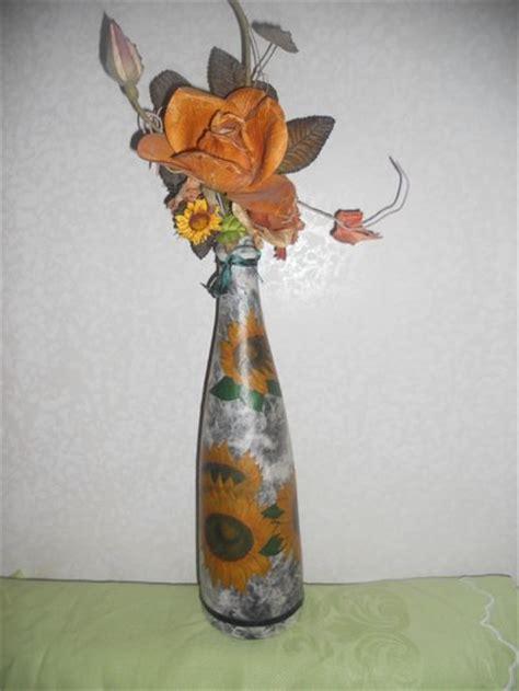 tutorial decoupage su bottiglia vetro bottiglia in vetro decorata a decoupage per la casa e