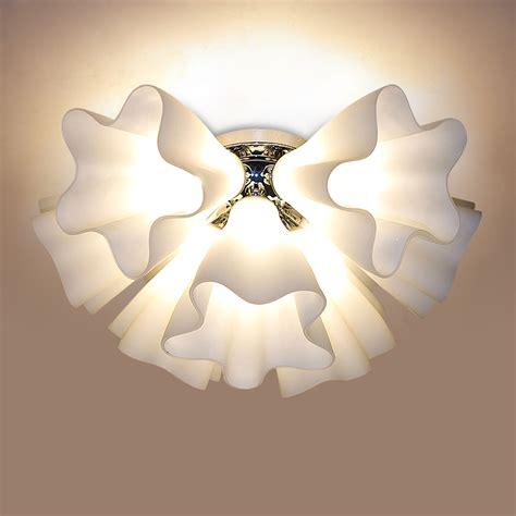 Flower Ceiling Light Modern Brief Led Ceiling Light Japanese Style Glass Cover Rustic Flower Ceiling Light