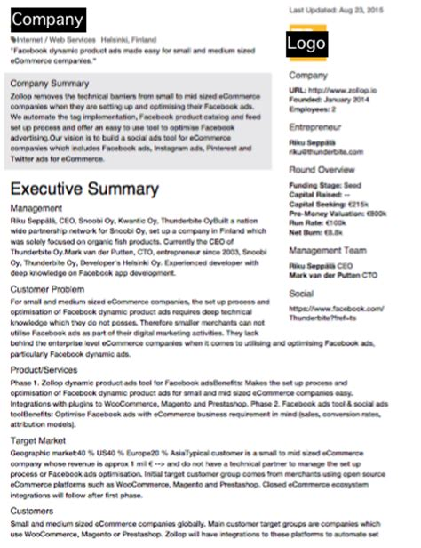 investment summary template screening business network