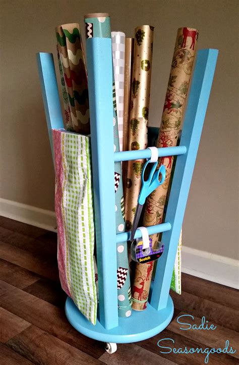 upcycled kitchen stool gift wrap caddy hometalk