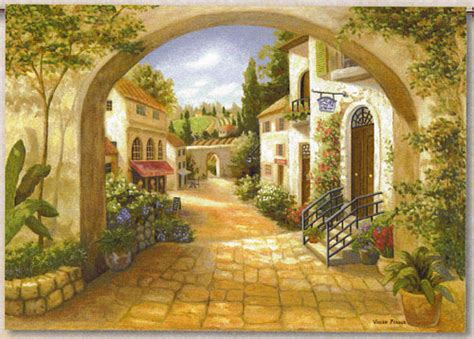 quaint town quaint town countryside view tapestry wall hanging h50 quot x