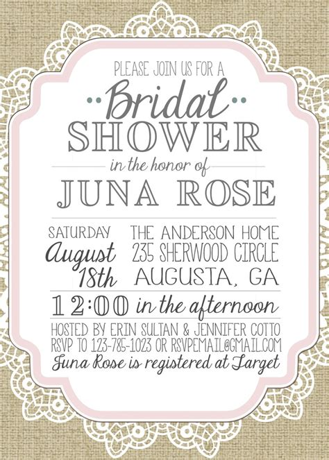 shower invitation template burlap and lace vintage bridal shower baby shower