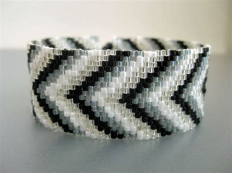 peyote beaded bracelets chevron bracelet peyote bracelet beaded bracelet in black