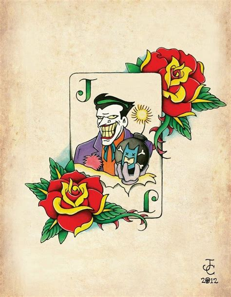 minimalist joker tattoo joker card neo traditional old school tattoo flash print