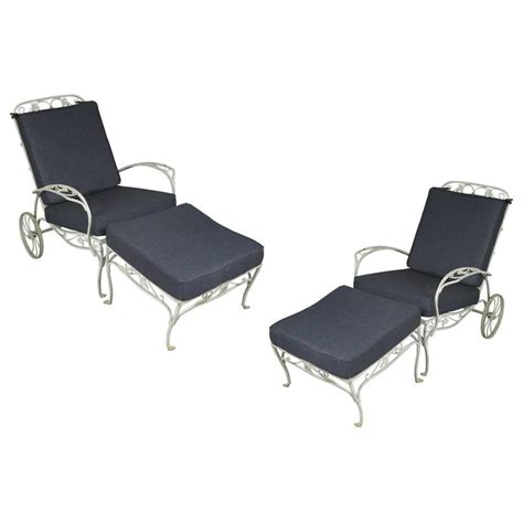 adjustable patio chair and ottoman pair of vintage wrought iron adjustable lounge chairs and