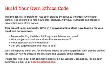 personal code of conduct template 2014 the year of personalized journalism ethics
