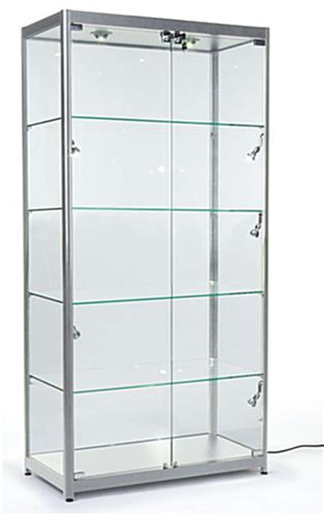 lockable glass display cabinet showcase silver aluminum frame locking display case top