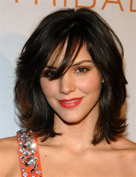 hairstyles with bangs on round faces top 20 medium length hairstyles with bangs for round faces