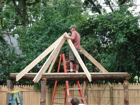 Tiki Hut Roof Tiki Hut Roof In Progress Backyard Tiki Bar
