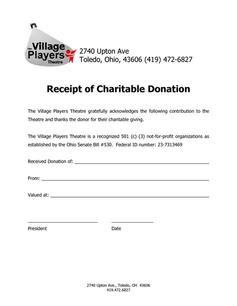 charitable tax receipt template 25 images of auto mobile donation letters template